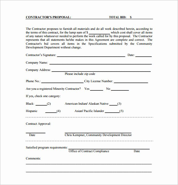 Free Printable Contractor Proposal forms New Bid Proposal Template 16 Free Sample Example format