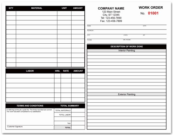 Free Printable Contractor Proposal forms Unique Painting Contractor Work order form