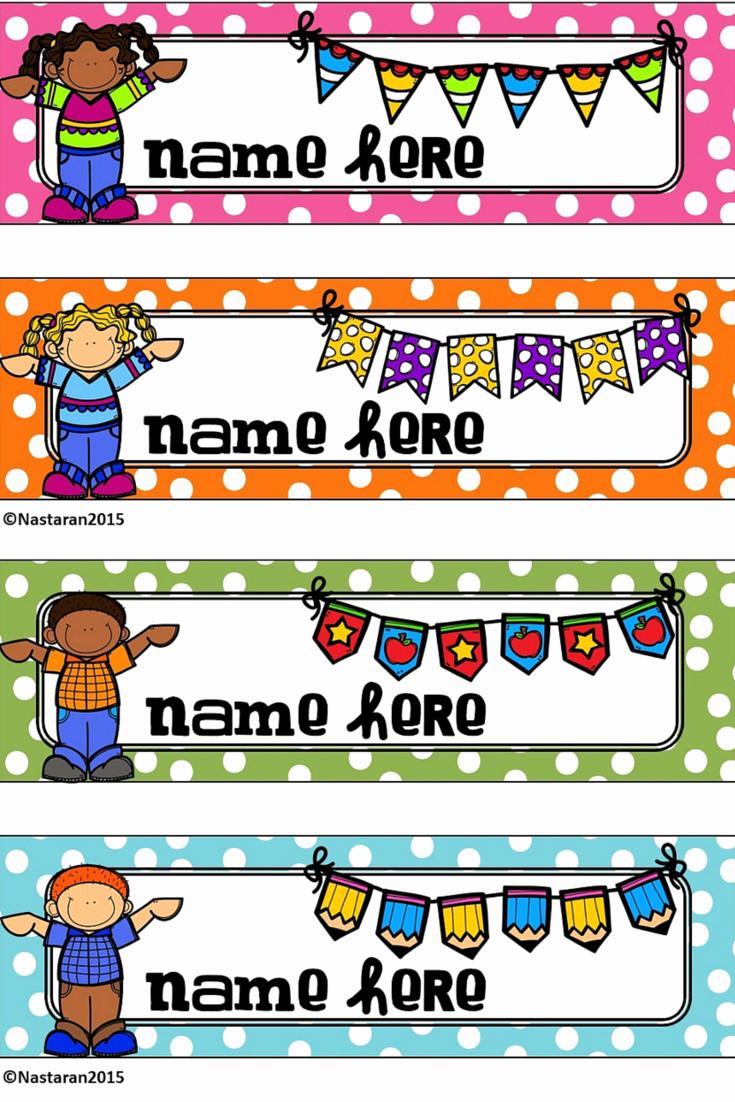 Free Printable Desk Name Plates for Students Inspirational Name Tags for Desks Editable Name Plates Polka Dot