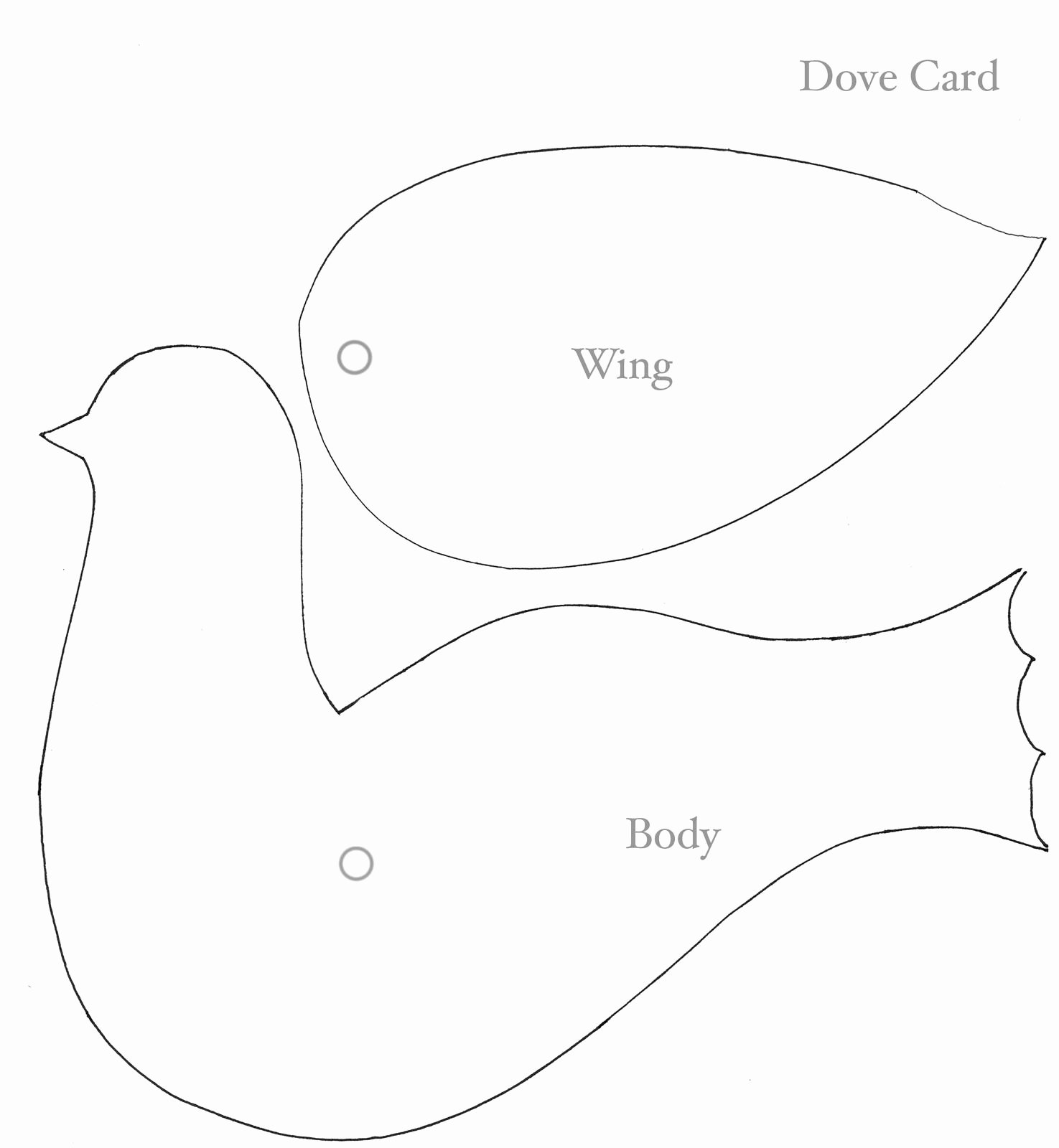 Free Printable Dove Template Unique to Doves Face attach Wing to Body with Paper Fastener
