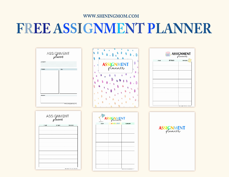 Free Printable Homework Planner Elegant Free assignment Planner for Kids and Teens Fun and Cute