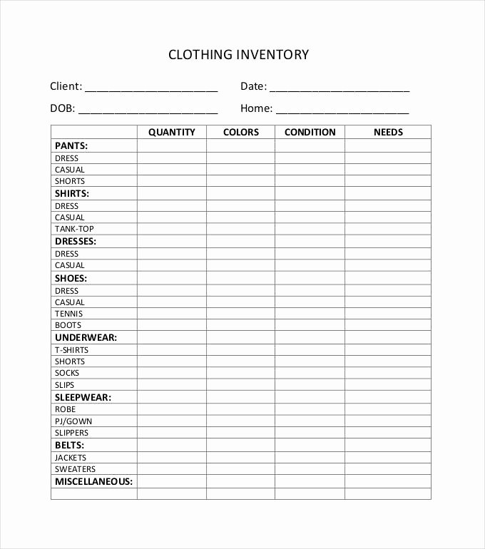 Free Printable Inventory Sheets Pdf New Clothing Inventory Spreadsheet