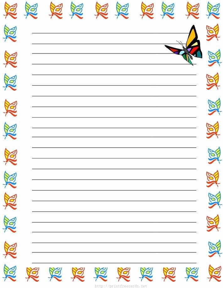 Free Printable Lined Stationary Beautiful Girl butterflies Free Printable Kids Stationery Free