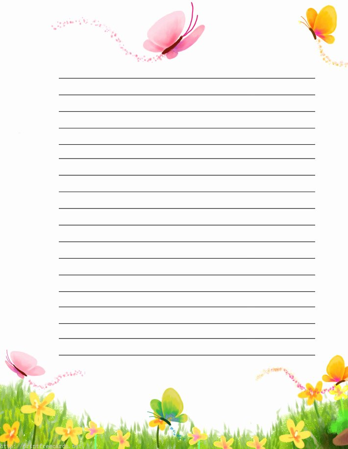 Free Printable Lined Stationery Beautiful butterflies Free Printable Stationery for Kids Regular