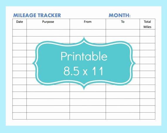 Free Printable Mileage Log Awesome Mileage Tracker form Printable Printable Mileage Tracker