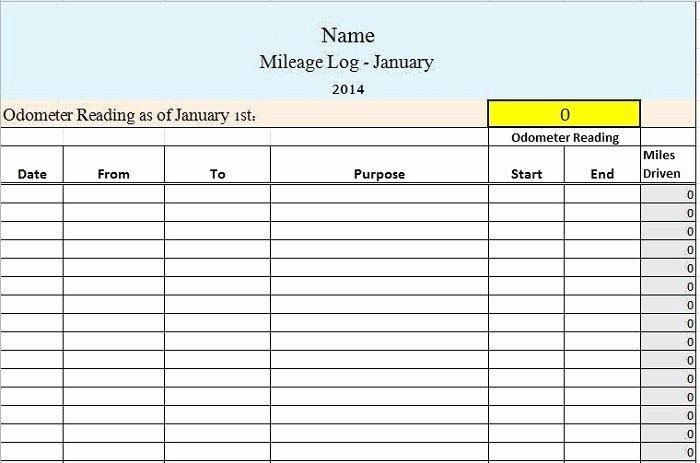 Free Printable Mileage Log Inspirational 30 Printable Mileage Log Templates Free Template Lab