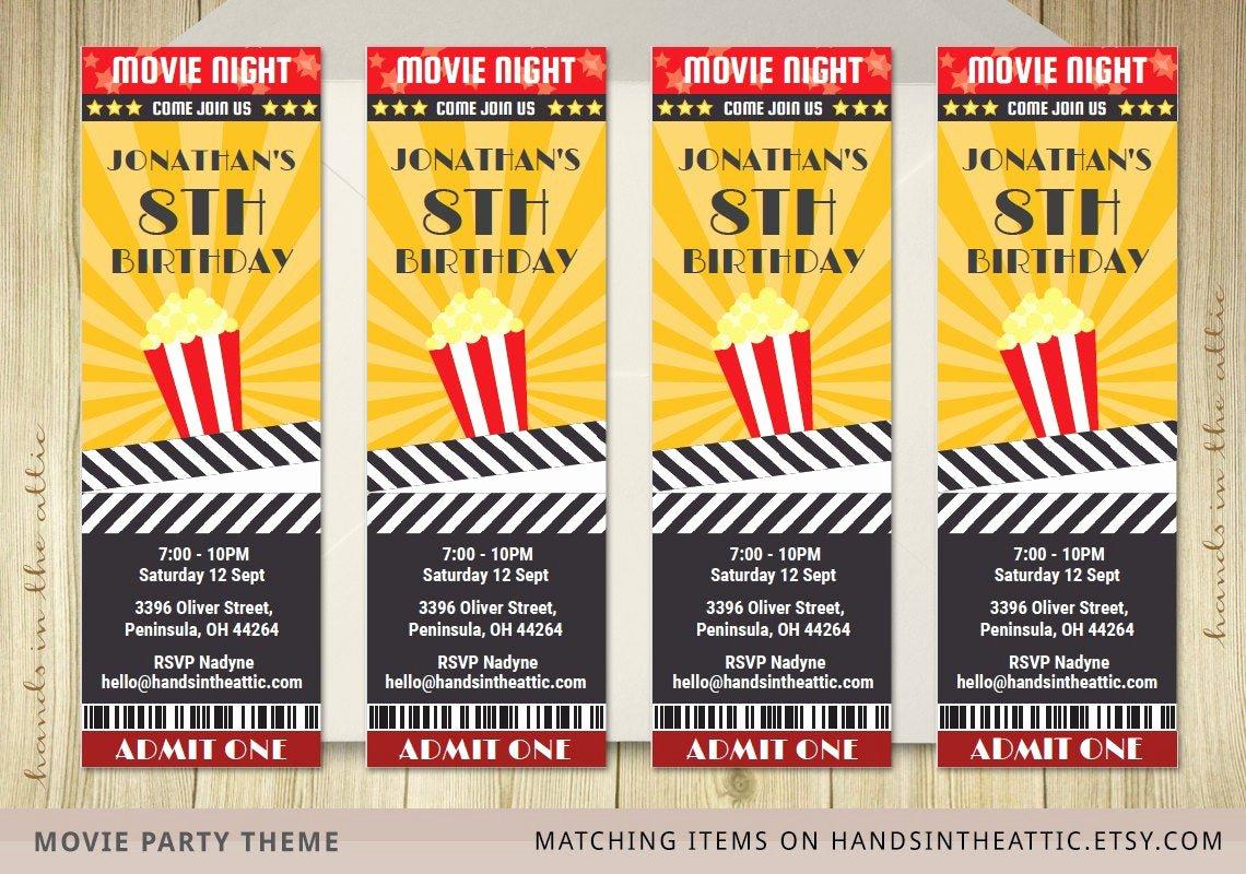 Free Printable Movie Ticket Invitations Lovely Movie Ticket Invite Invitation Ticket Film by Handsintheattic