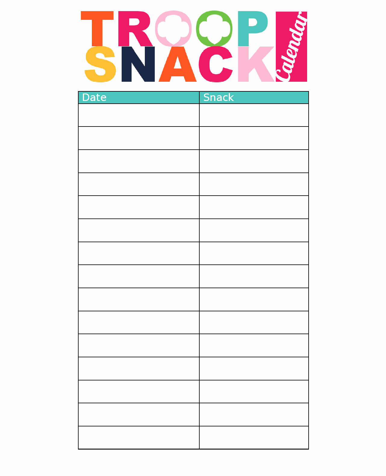 Free Printable Snack Sign Up Sheet Elegant I Am Girl Scouts Resources & Freebies