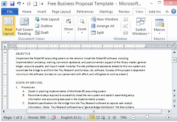 Free Proposal Template Word Inspirational Free Business Proposal Template for Microsoft Word