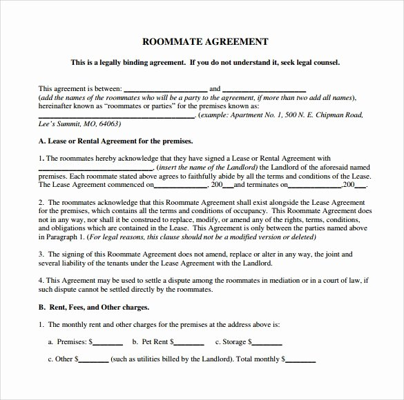 Free Roommate Agreement Template Best Of Sample Roommate Agreement Template 15 Free Documents In
