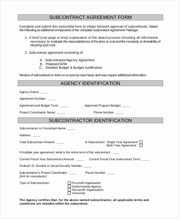 Free Subcontractor Agreement Template Word Awesome Sample Subcontractor Agreement 9 Examples In Pdf Word
