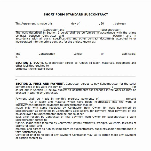 Free Subcontractor Agreement Template Word Beautiful 15 Sample Subcontractor Agreements