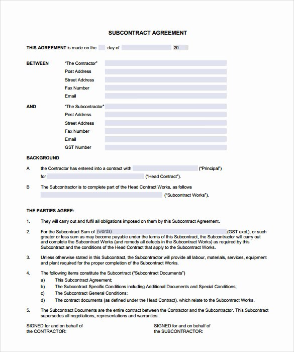 Free Subcontractor Agreement Template Word Beautiful 8 Subcontractor Contract Templates to Download for Free
