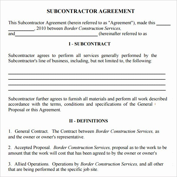 Free Subcontractor Agreement Template Word Best Of 10 Best Of Llc Operating Agreement Fillable