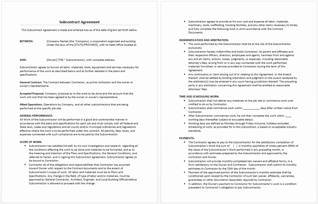 Free Subcontractor Agreement Template Word Best Of Subcontract Agreement Template Word Templates
