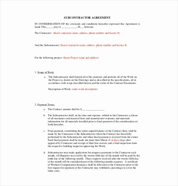 Free Subcontractor Agreement Template Word Luxury 17 Subcontractor Agreement Templates Word Pdf Pages