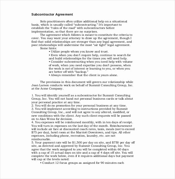 Free Subcontractor Agreement Template Word New 13 Subcontractor Agreement Templates – Word Pdf Pages