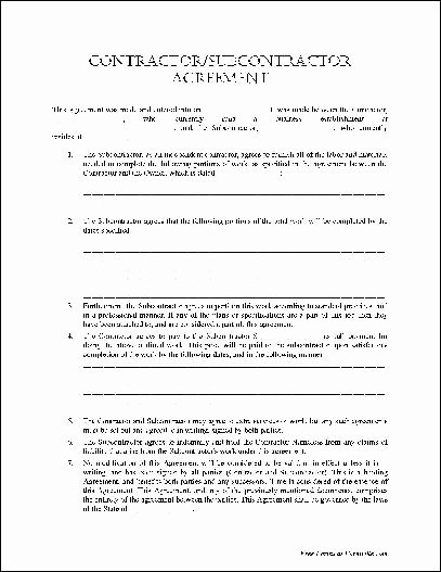 Free Subcontractor Agreement Template Word New Free Basic Contractor Subcontractor Agreement From formville