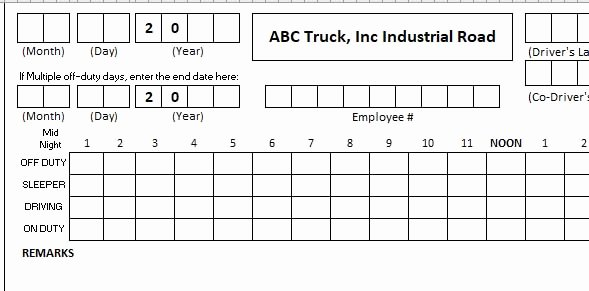 Free Truckers Log Book Template Elegant Daily Truck Driver Log Book Template Excel