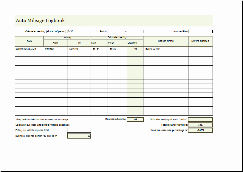 Free Truckers Log Book Template Inspirational Mileage Log Book Template