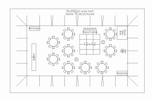 Free Wedding Floor Plan Template Beautiful Cad Tent Layout for Wedding Reception with 75 Guests In