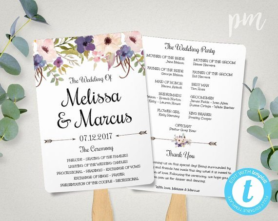 Free Wedding Program Fan Templates Awesome Free Wedding Program Templates