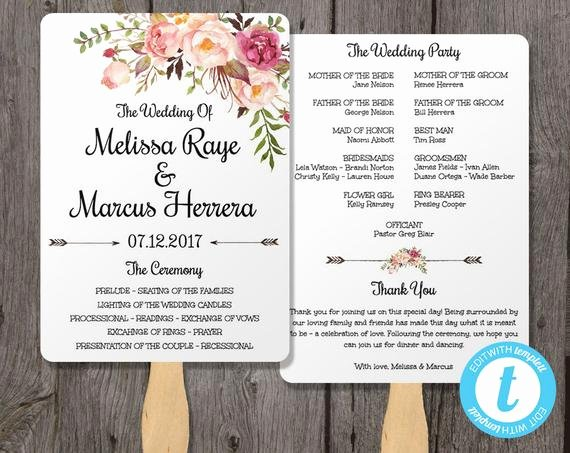 Free Wedding Program Fan Templates Best Of Wedding Program Fan Template Bohemian Floral Instant by