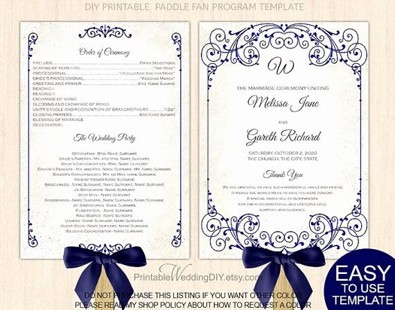 Free Wedding Program Fan Templates Elegant Navy Blue Vintage Scroll Fan Program Template Paddle Fan