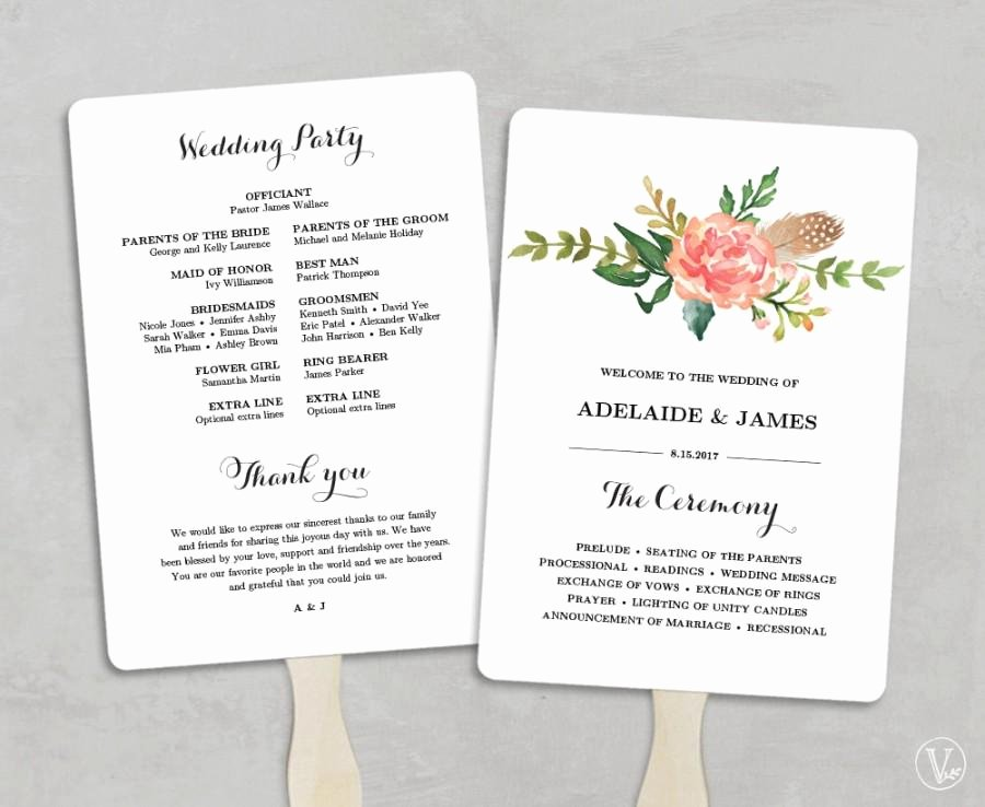 Free Wedding Program Fan Templates New Printable Wedding Program Template Fan Wedding Programs