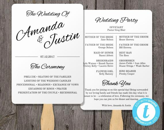 printable wedding program fan template
