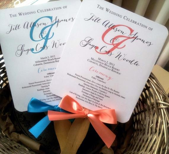 Free Wedding Program Fan Templates Unique Turquoise Wedding Program Fans Pick Two by Pinkorchidinvites