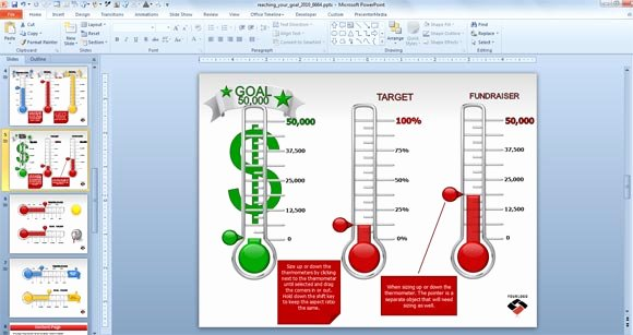 Fundraising thermometer Template Powerpoint Awesome Animated Goal Chart Template for Powerpoint