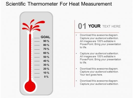 Fundraising thermometer Template Powerpoint Inspirational Scientific thermometer for Heat Measurement Flat