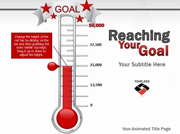 Fundraising thermometer Template Powerpoint Unique Animated Goal Chart Template for Powerpoint