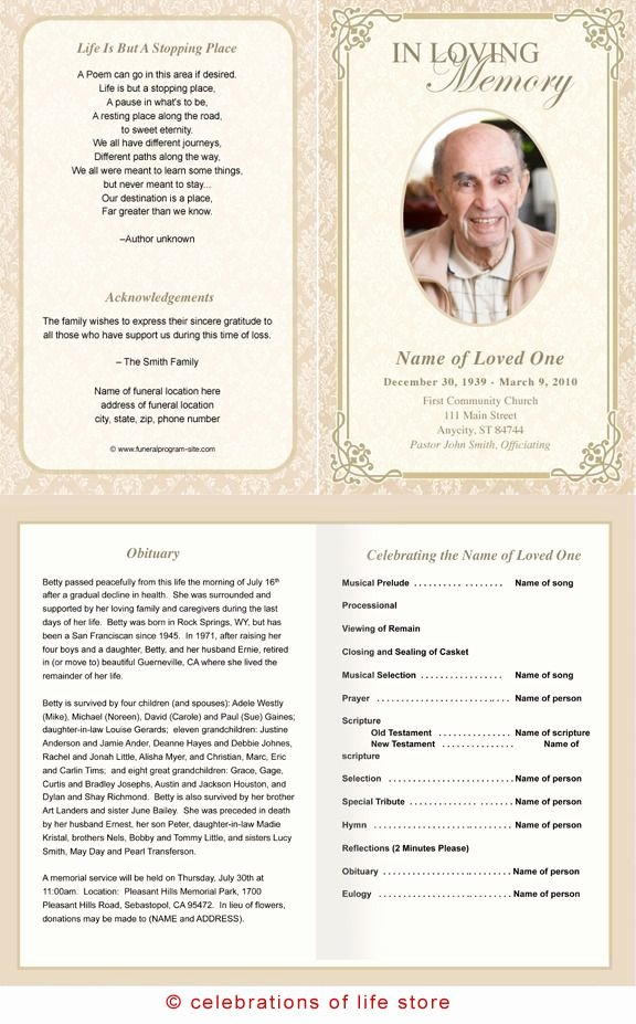 Funeral Memorial Card Template Fresh Alexandria Printable Funeral Program Template