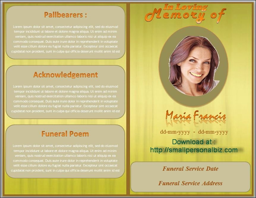Funeral Program Templates Word Free Awesome Download Funeral Program Template In Ms Word with Design