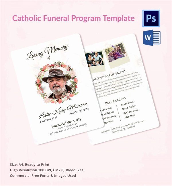 Funeral Program Templates Word Free Awesome Sample Catholic Funeral Program 12 Documents In Pdf