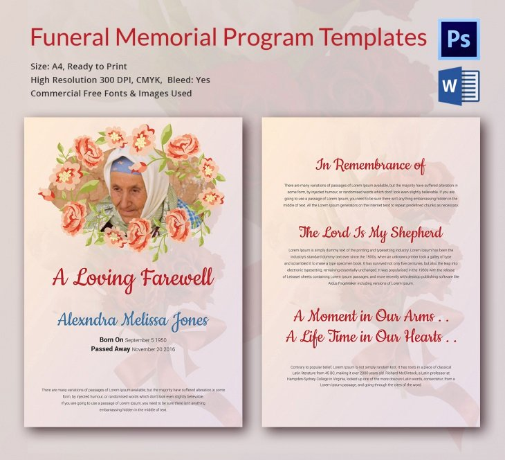 Funeral Program Templates Word Free Inspirational 5 Funeral Memorial Templates – Free Word Pdf Psd