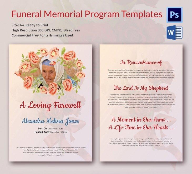 funeral memorial templates