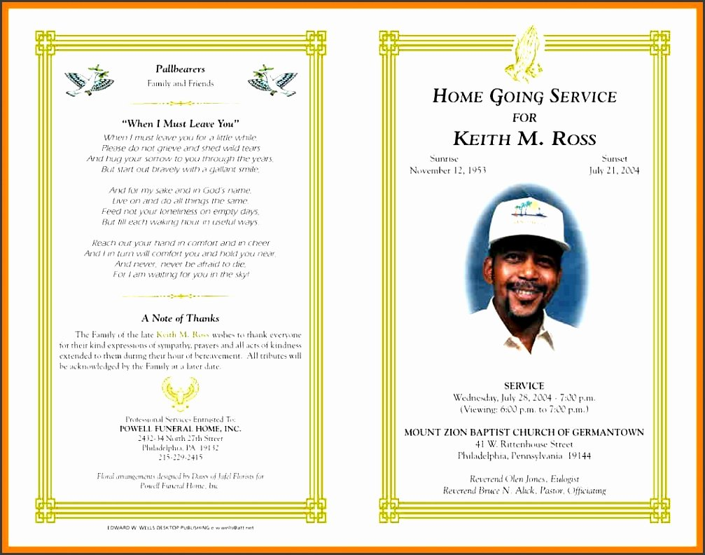 Funeral Program Templates Word Free Inspirational 8 Ms Word Funeral Program Template Sampletemplatess