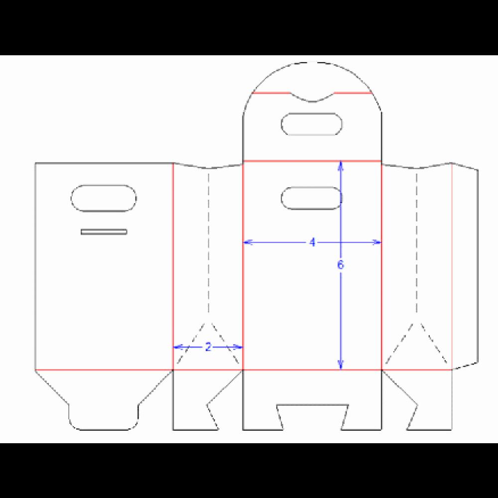 "Gable Box Template Elegant 4"" X 2"" X 6"" Paperboard Gable Box"