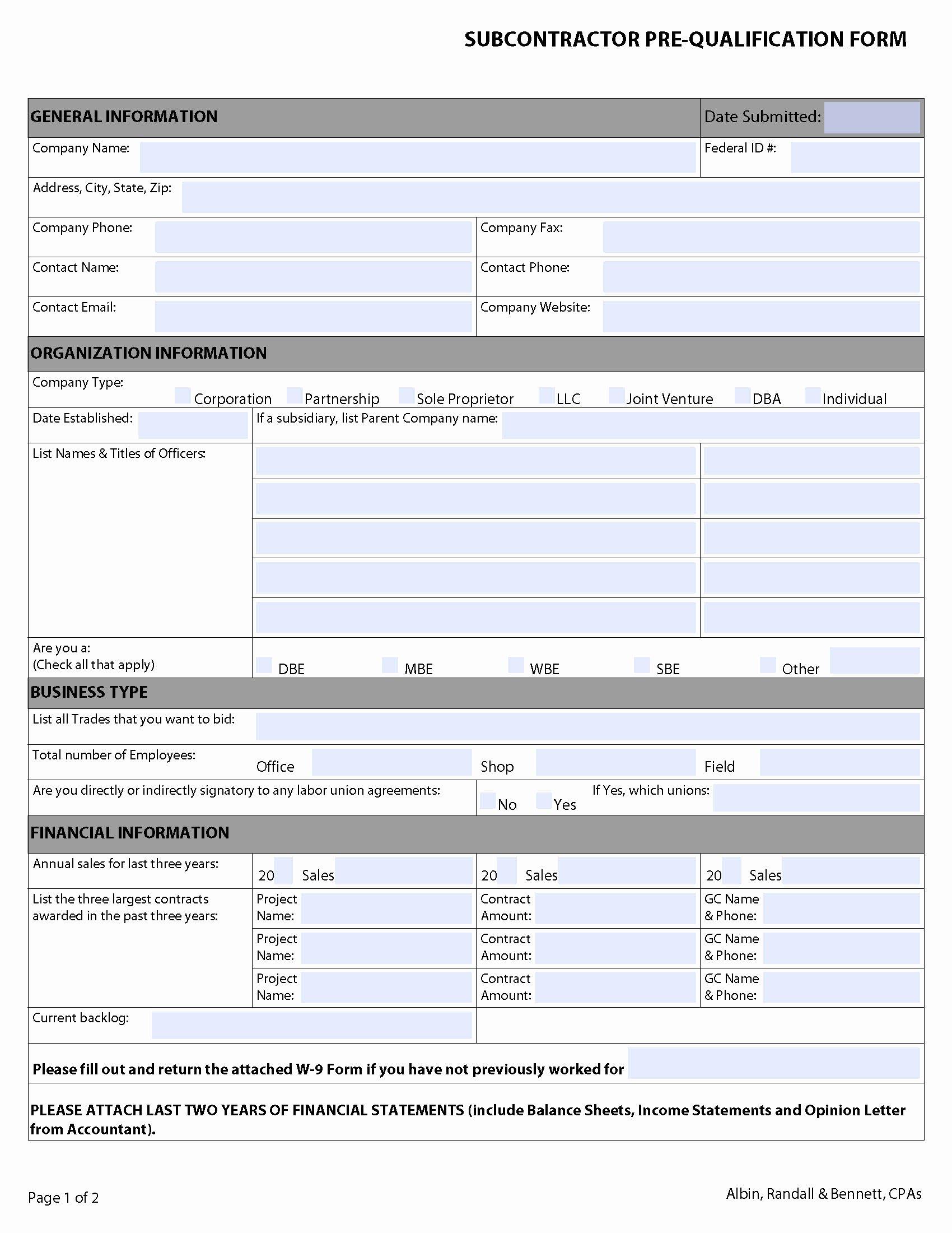 general contractor checklist template