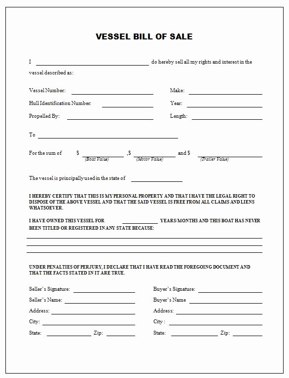 Generic Bill Of Sale form Printable Awesome Free Printable Boat Bill Sale form Generic