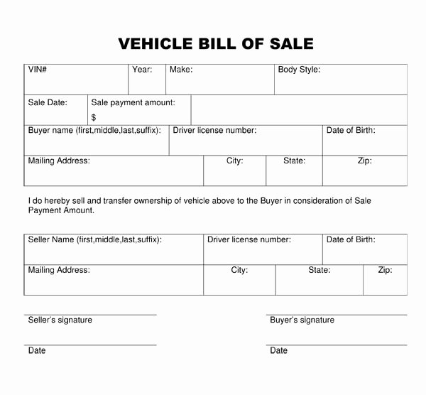 Generic Bill Of Sale form Printable Best Of Free Printable Car Bill Of Sale form Generic