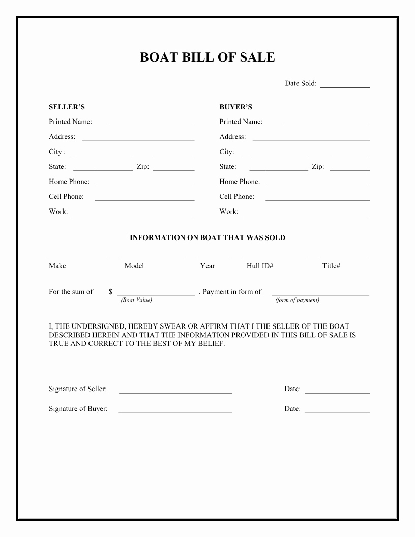 Generic Bill Of Sale form Printable Inspirational Free Boat Bill Of Sale form Download Pdf