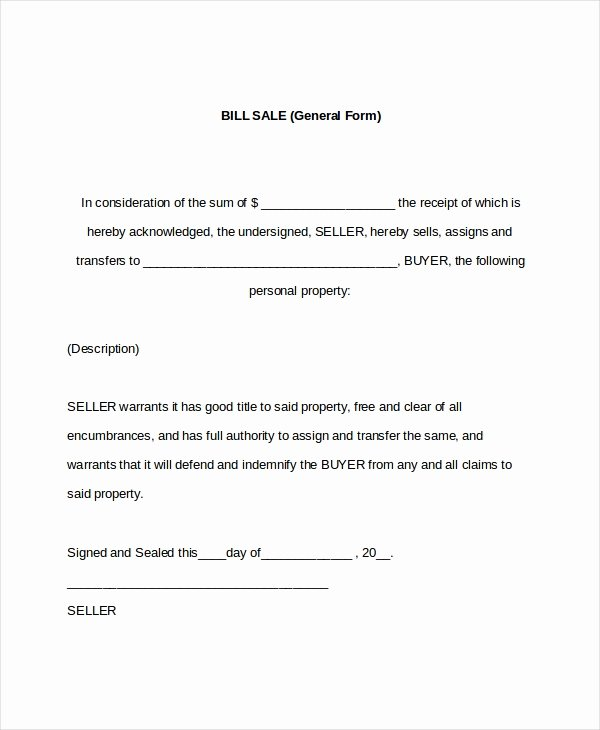 Generic Bill Of Sale form Printable Unique 7 Sample General Bill Of Sale forms