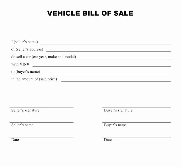 Generic Bill Of Sale form Printable Unique Free Printable Car Bill Of Sale form Generic