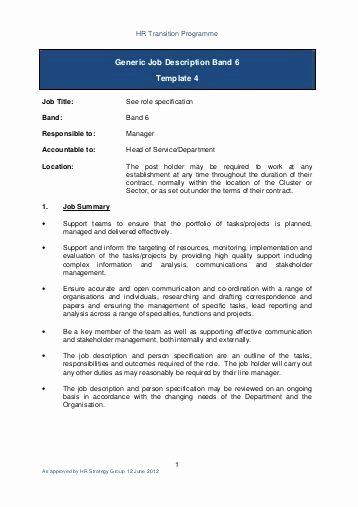 Generic Job Description Luxury Generic Job Description Band 2 Template 4