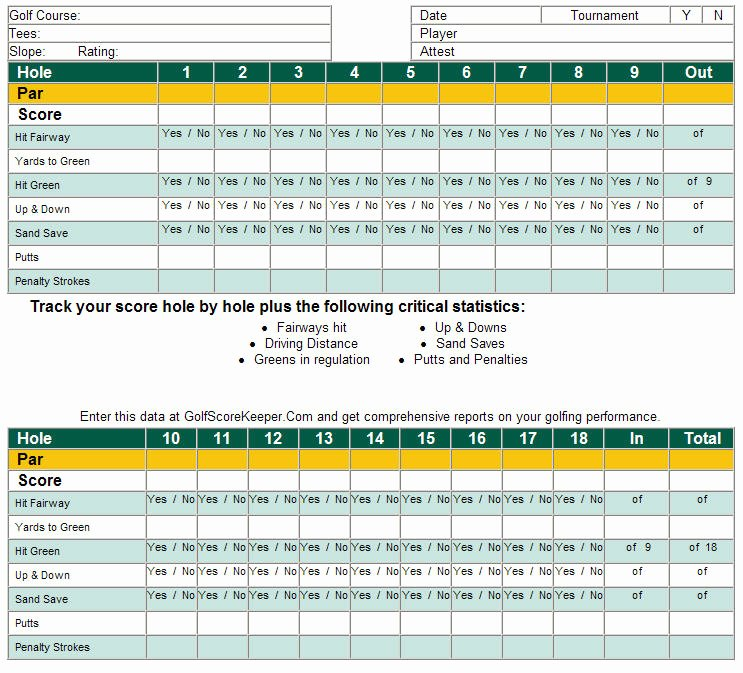 Golf Scorecard Template Excel Inspirational Download Free software Free Excel Templates for Golf