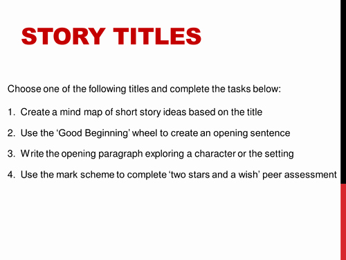 Good Titles for College Essay New Creative Writing Story Titles by Jamestickle86 Teaching